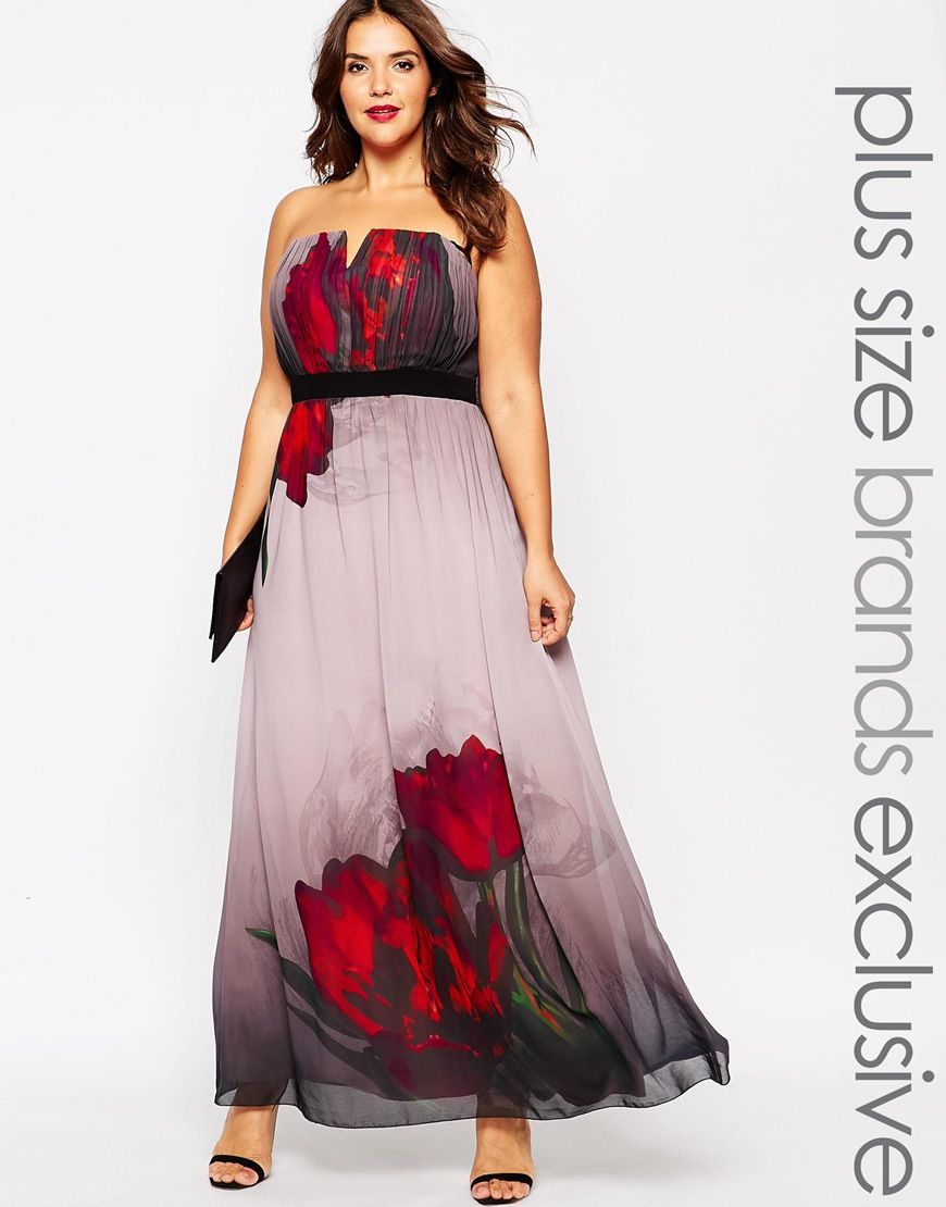 Image 1 of Little Mistress Plus Strapless Tulip Print Maxi Dress ...