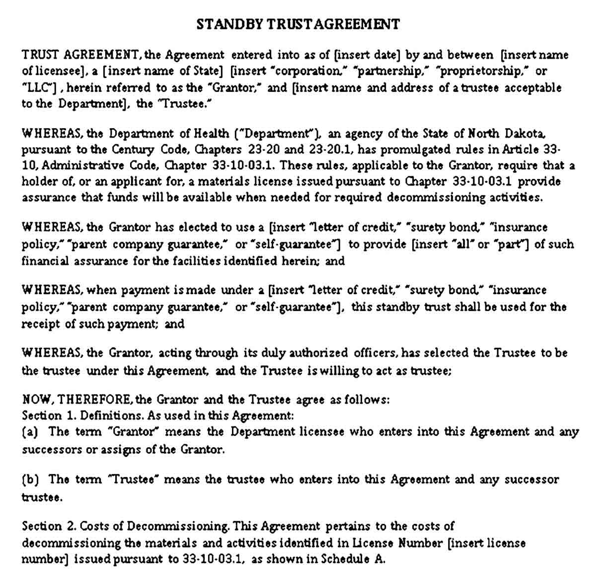 Trust Agreement Templates Sample Agreement Types Of Trusts Business Template