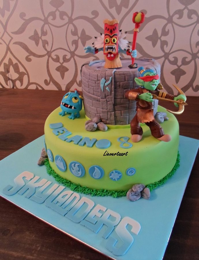 Skylanders cake for a 8 yr old boy all figures are made of fondant