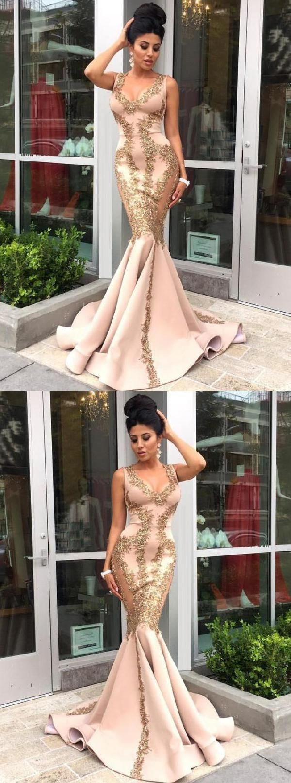Excellent mermaid prom dresses champagne prom dresses prom