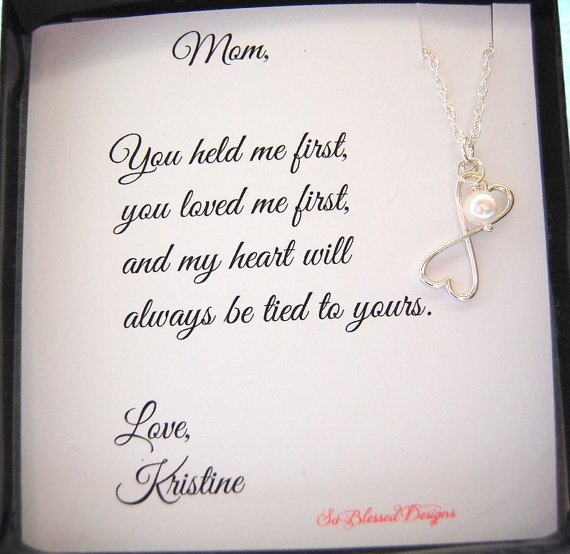 Mothers Day Gift Mother Of Bride Groom MOM NecklaceTo From Daughter POEM Birthday For Mom
