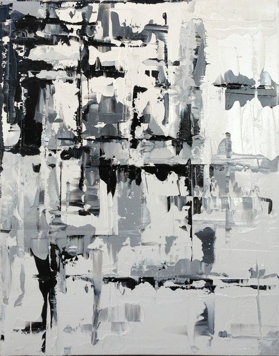Abstract Painting Contemporary Black White By