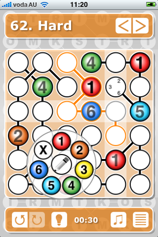 Hard 62 puzzle from Strimko for iPhone app. By The