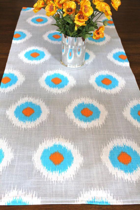 GRAY BLUE TABLE Runner 12 X 60 Orange Table Runners Silver Wedding Showers  Decorative Aqua Blue