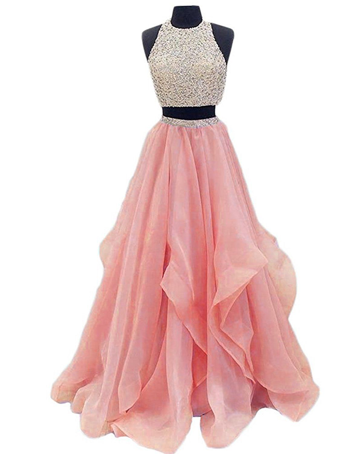 Meilishuo womenus halter top beaded prom dress two pieces keyhole