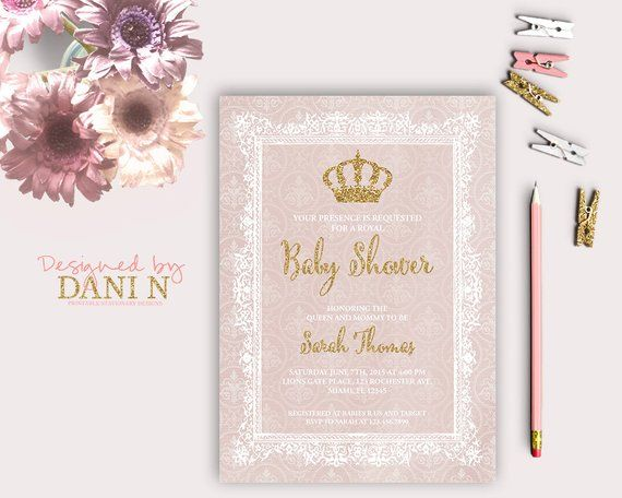 Princess Shower Invitation Pink Baby Shower Pink And Gold Crown