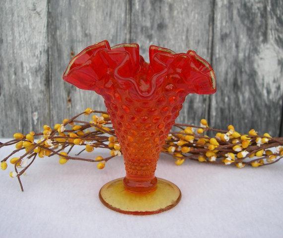 Vintage Amberina Glass Vase Crimped Ruffled Hobnail Pedestal Bud