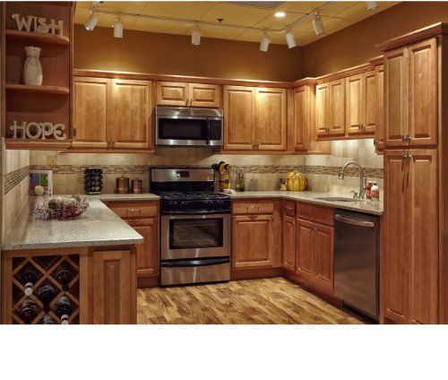 All Wood 10 10 Kitchen Cabinets Maple Honey Natural Cabinetmaple Maple Kitchen Cabinets Maple Kitchen Solid Wood Kitchen Cabinets
