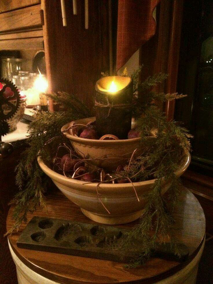 Tiered Bowl Candle Holder Nice Primitive Christmas