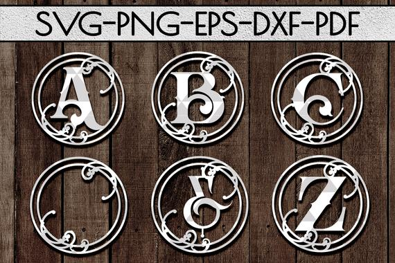 vine alphabet papercut bundle A-Z 26 and ornaments svg cutting file laser cut fa…