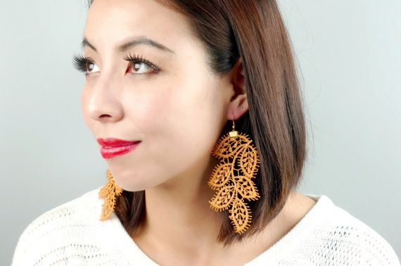 Hey, I found this really awesome Etsy listing at https://www.etsy.com/listing/126596600/unique-large-leaf-lace-earrings-hand
