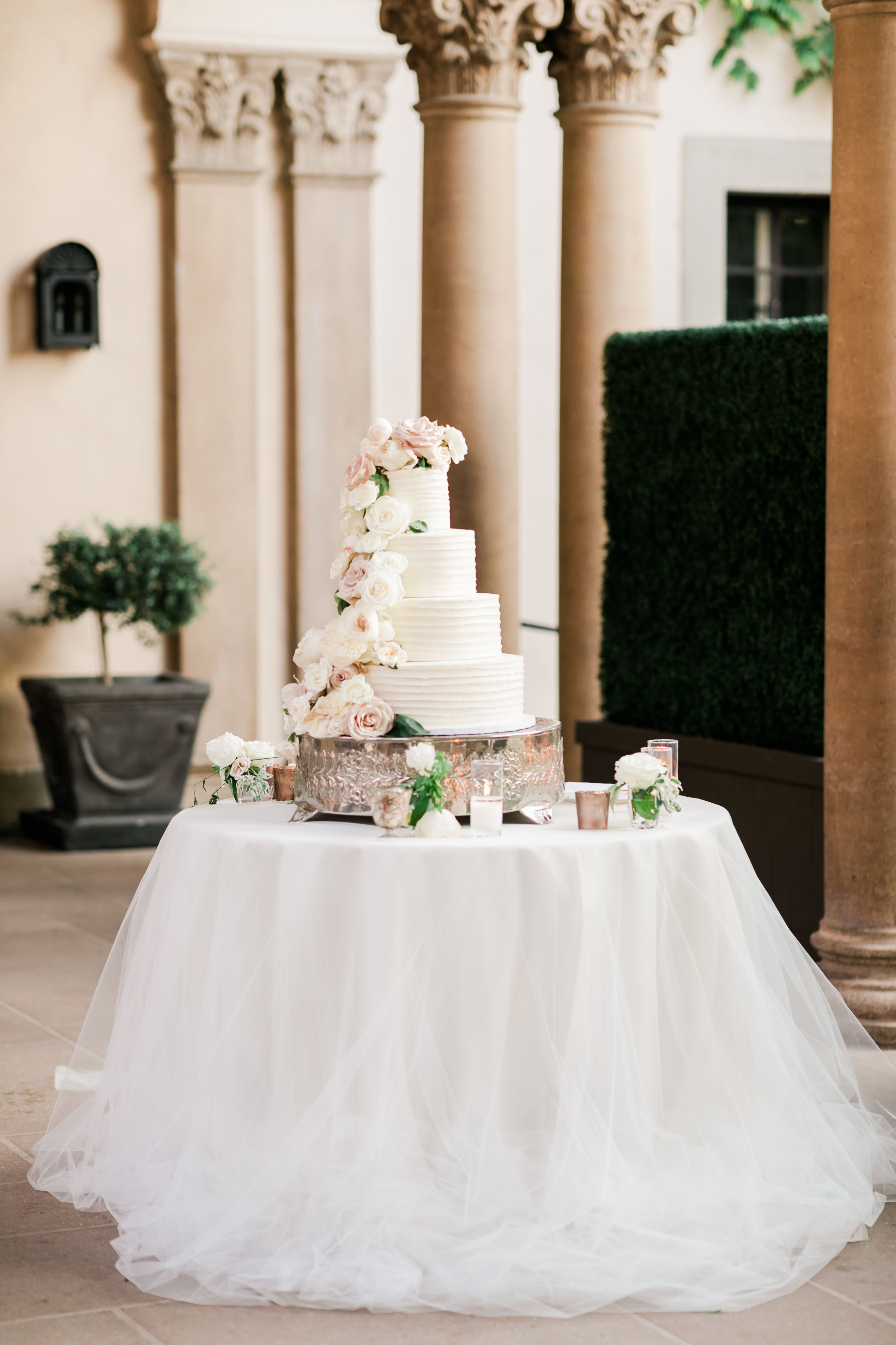 Whimsical Wedding With A Neutral Color Palette At The Athenaeum Cake Table Decorations Wedding Cake Table Wedding Cake Table Decorations