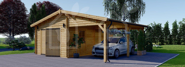 Wooden garage car ports 4x6 44mm UK Wooden garage