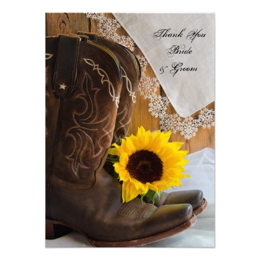 Country Sunflower Wedding Thank You Notes Custom Invites
