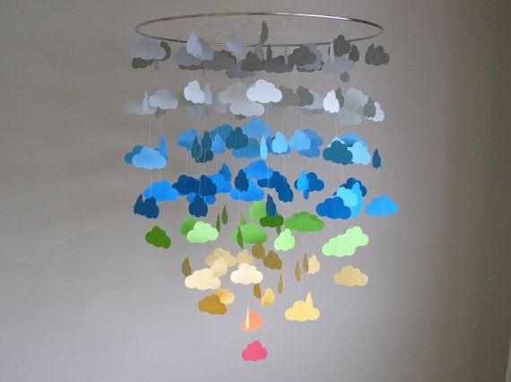Rainbow & Gray Cloud Mobile (Large) // Nursery Mobile - Choose Your Colors
