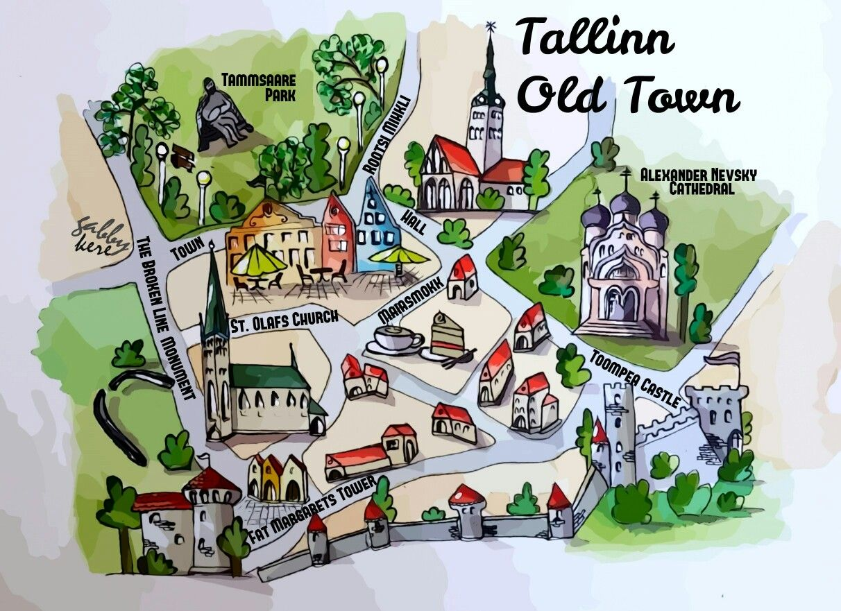 Map of Tallinn old town watercolour Map Project Pinterest