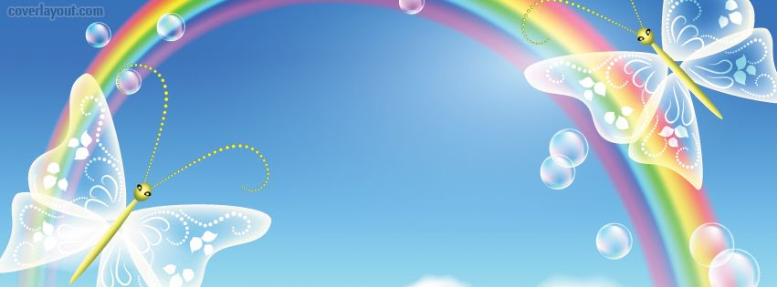 Pretty Butterflies And Rainbow Facebook Cover Coverlayout Com