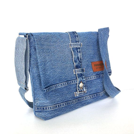 denim messenger bag recycled jeans crossbody bag. Black Bedroom Furniture Sets. Home Design Ideas