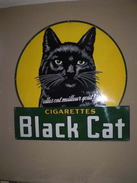 Black Cat Cigarettes Vintage Advertising Metal Sign