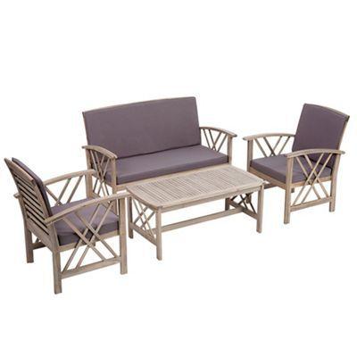 Debenhams Grey acacia wood 'Panama' garden table, bench ...