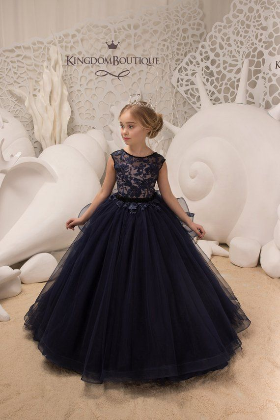 29a755389 Navy and Blush Flower Girl Dress - Birthday Wedding party Bridesmaid ...