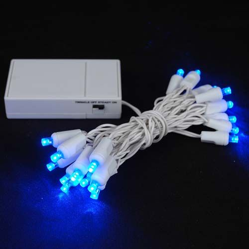20 LED Battery Operated Lights Blue White Wire Decor - Christmas