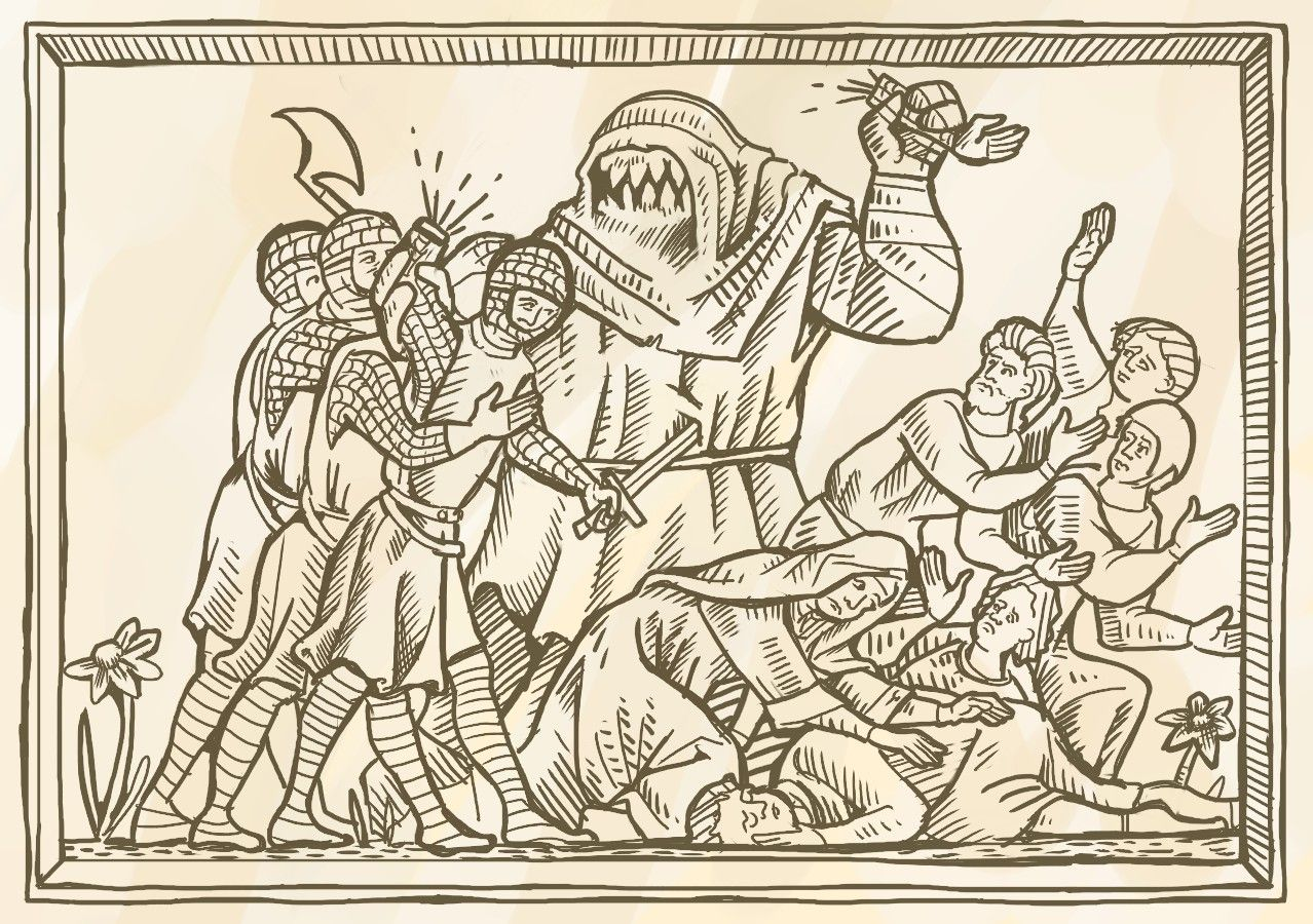 Medieval Maciejowski bible style art. Fantasy monster. Made for dwaler larp