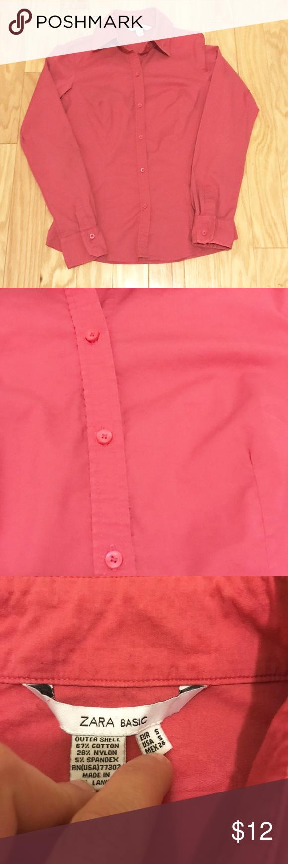 Zara Coral Pink Dress Shirt Button Down Blouse Xs Zara Pink Button