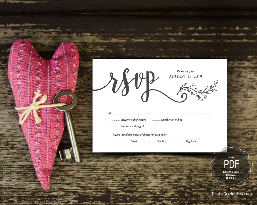 Wedding Invitation Rsvp Card Template Editable Pdf Instant Download File Enclosure Card Rsvp In Rustic Kraft Honeymoon Wish Save The Date Cards Song Request