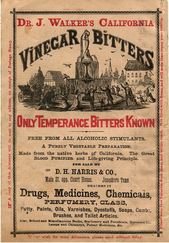 Non Alchoholic Vinegar Bitters Vintage Medicine Label