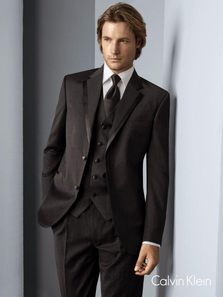 Black Pinstripe Tuxedo by Calvin Klein : Formal Dimensions ...
