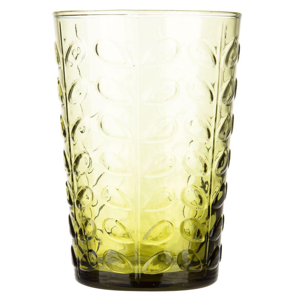 Orla Kiely - Raised Linear Stem Olive Highball Tumbler | Peter's of Kensington