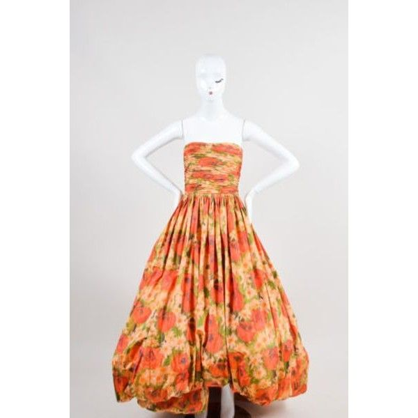 Pre-Owned Oscar De La Renta 2009 Red Green Yellow Silk Floral Print... (£760) ❤ liked on Polyvore featuring dresses, gowns, multi, red corset, long sleeve gowns, green corset, red formal dresses and red ball gown