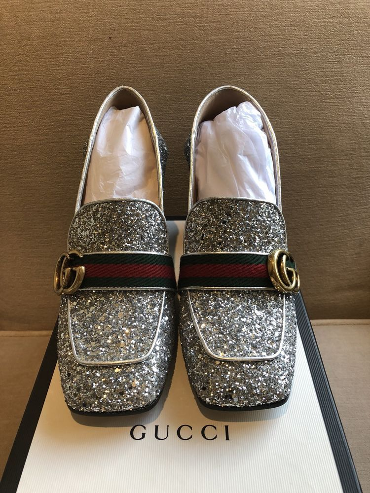 abeb491fa92 NIB Gucci Peyton Silver Glitter Marmont GG Gold Loafer Mule Mid Heel Pump  38  fashion  clothing  shoes  accessories  womensshoes  heels (ebay link)