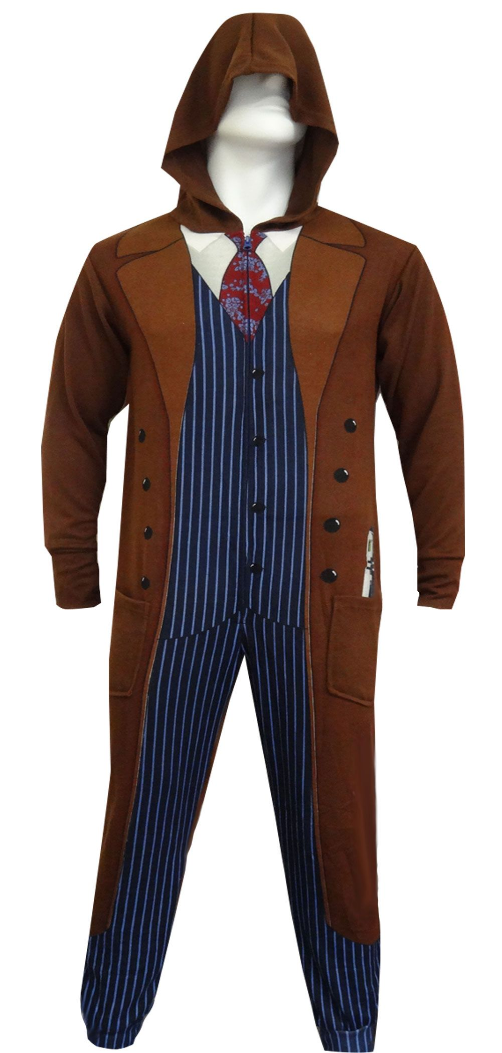 1a74057a139e WebUndies.com Dr. Who 10th Doctor Hooded Onesie Lounger Pajama ...