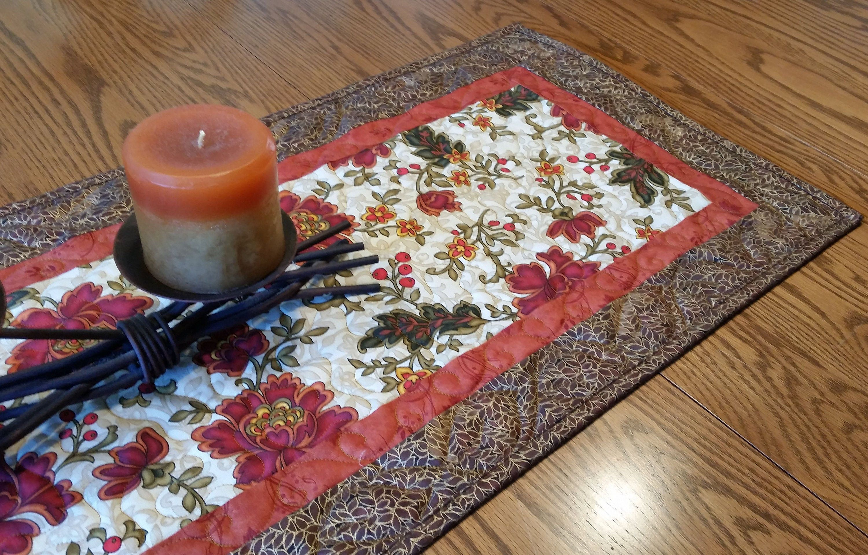 Fall Quilted Table Runner Thanksgiving Centerpiece