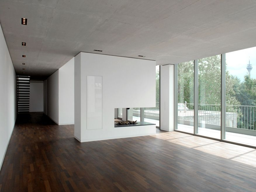 Moderne Wohnzimmer Offener Kamin Penthouse Dsseldorf