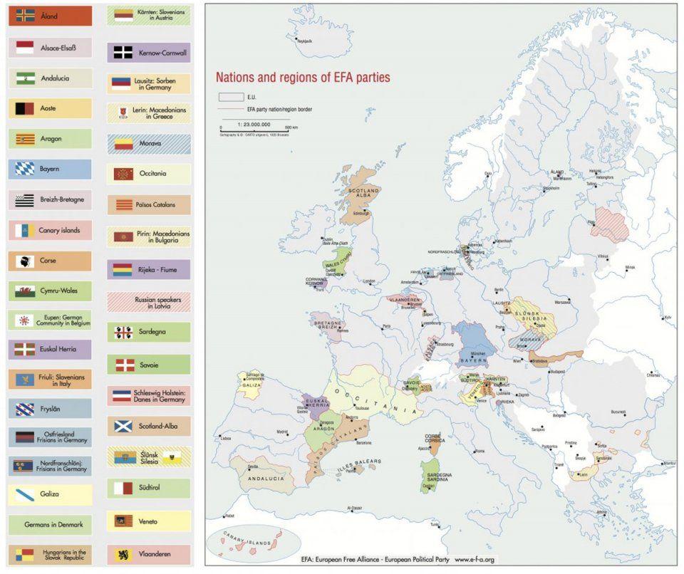 Αποτέλεσμα εικόνας για nations and regions of efa parties map