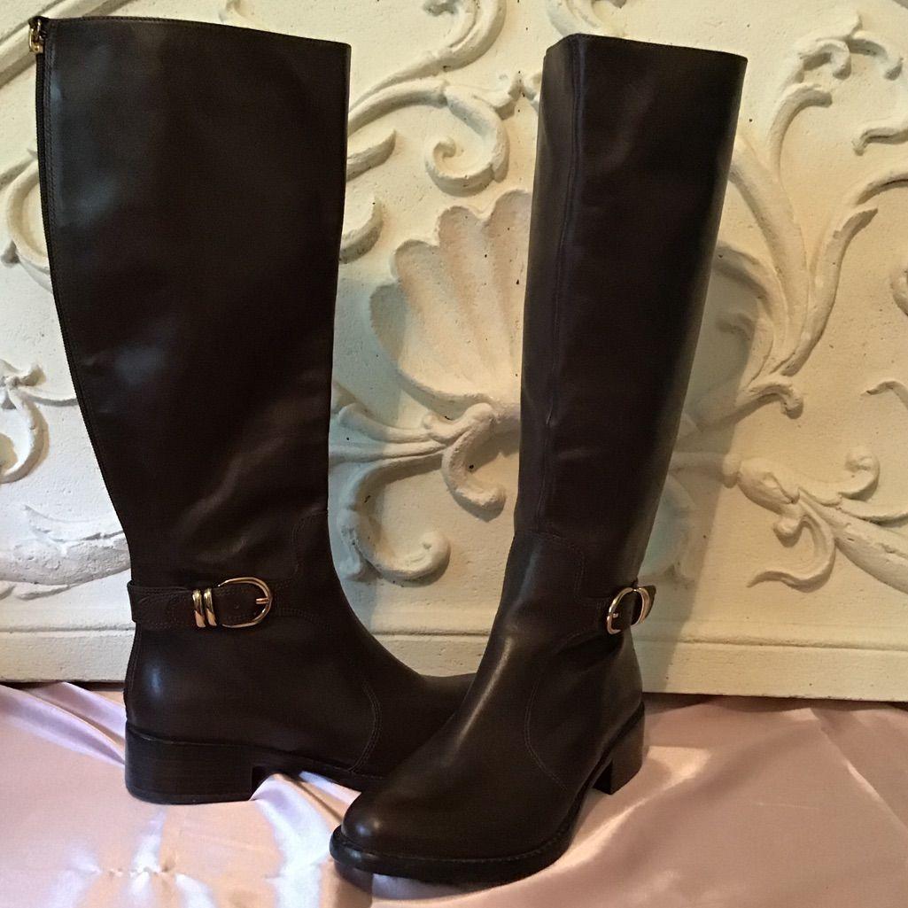 New Womens SOLE Black Rowan Leather Boots Knee-High Buckle Elasticated Zip