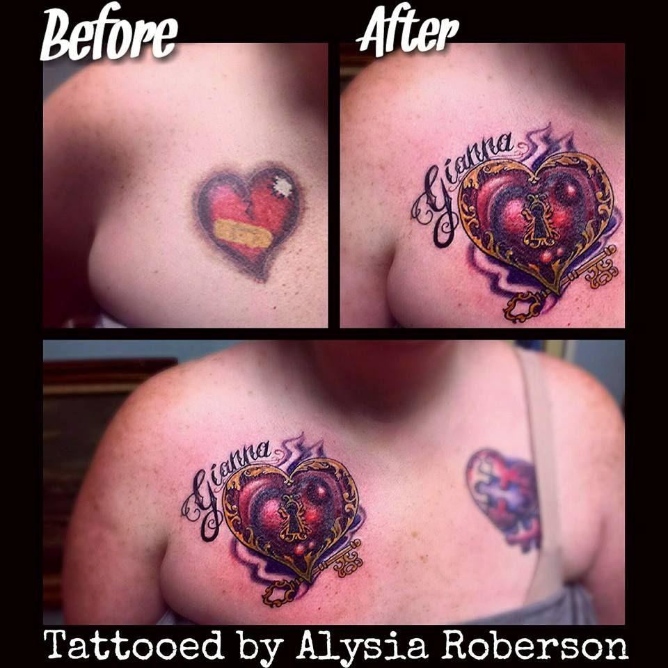 Pics photos heart lock flowers n key tattoo design - Tattoo