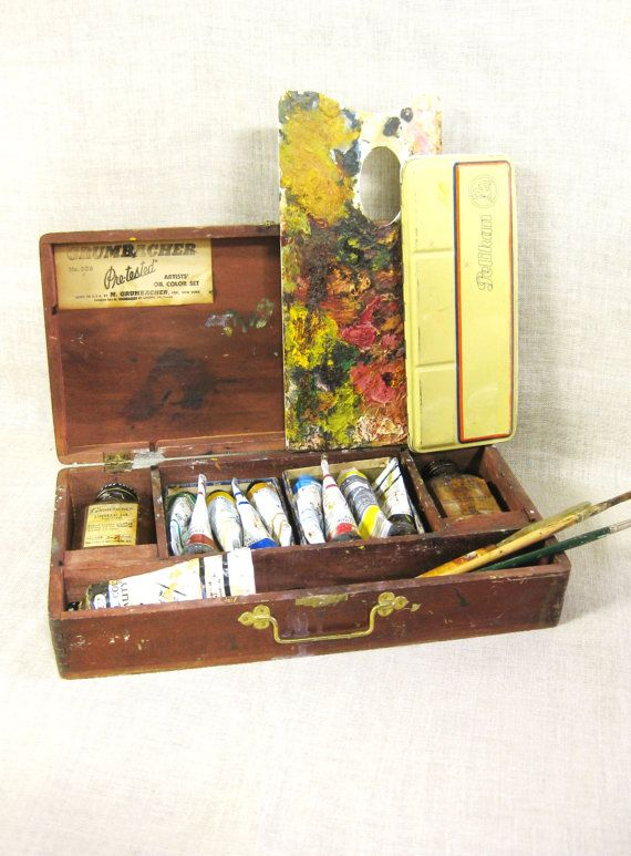 Painters Box , Artist Storage , Art Supplies , Antique Wooden Box , Storage  Box ,