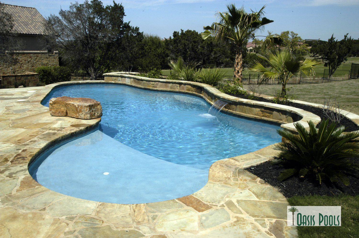Oasis 39 this golf course setting pool in lakeway has room for Pool design course