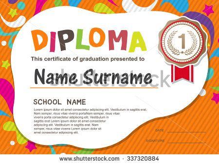 preschool kids diploma certificate background design template