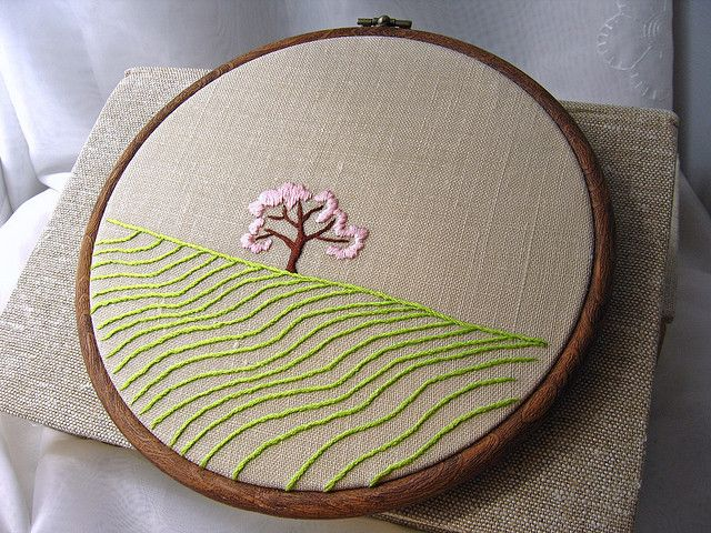 Apple Tree In The Fields Spring Hand Embroidered Original Wall Art