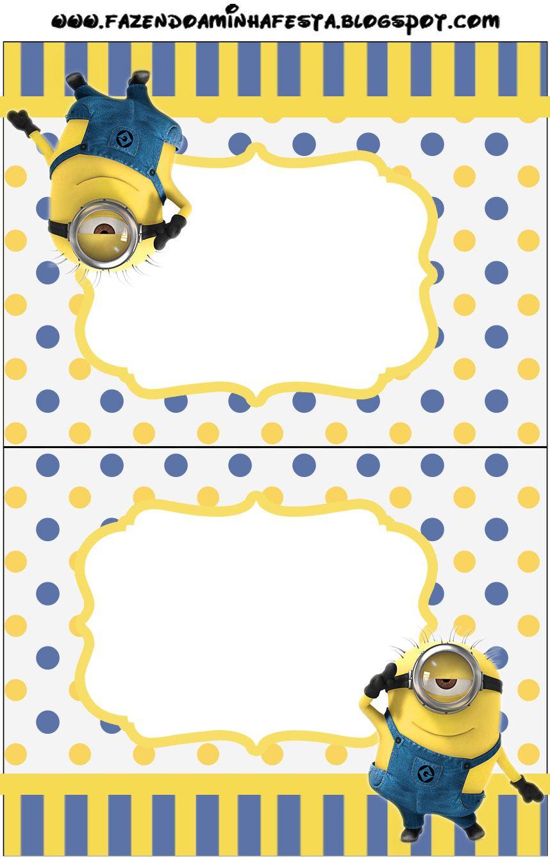 Minions (Meu Malvado Favorito 2) - Kit Completo com molduras para convites…