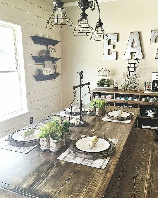 Farmhouse Dining Room Colors: Love This Color Of The Walls And Ideas....