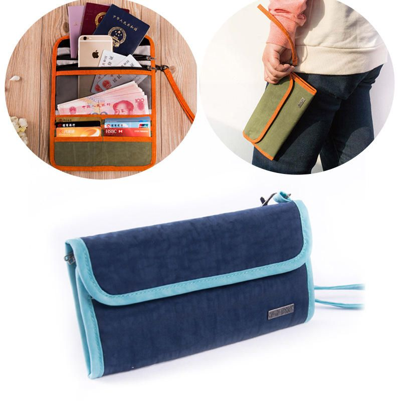 Multifunction three folding canvas traveling pouch
