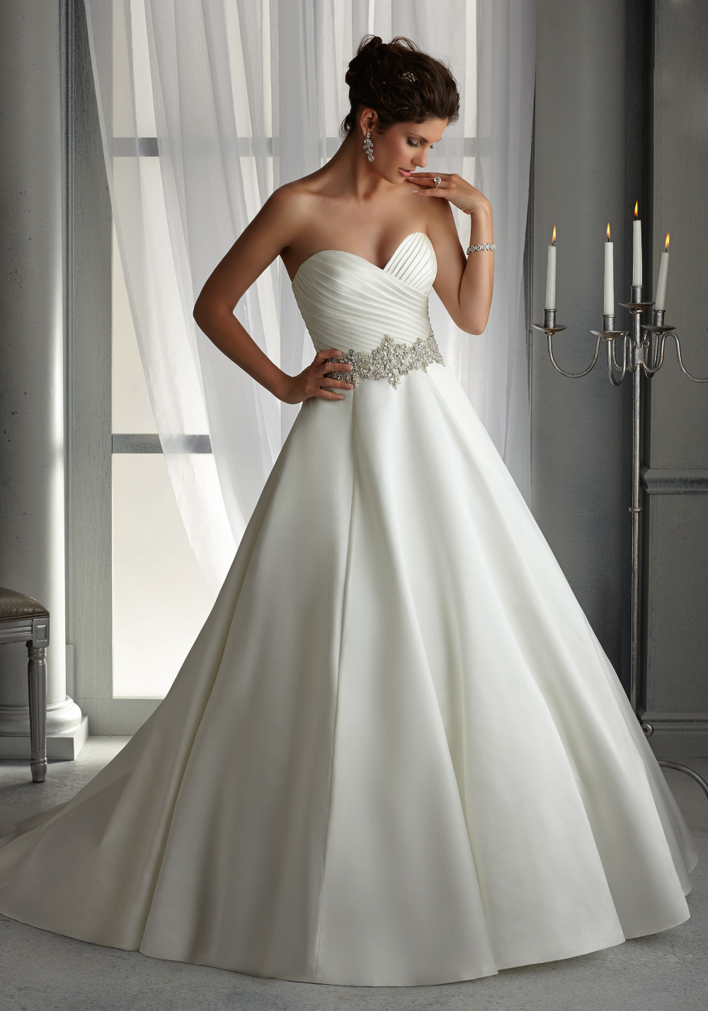 Morilee Bridal Duchess Satin Wedding Dress with Elaborately Beaded Waistband | Morilee