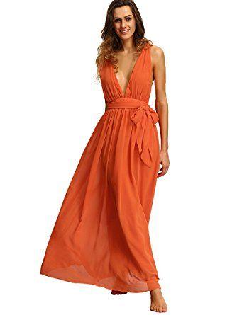 e6bd8a0ba0 Orange Flowy Dress - Amazon.com