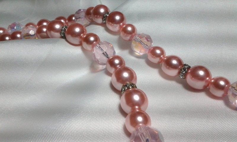 Vintage Estate Silver Pink Bead Bauble Rhinestone Collar AB Bead Necklace #Unbranded